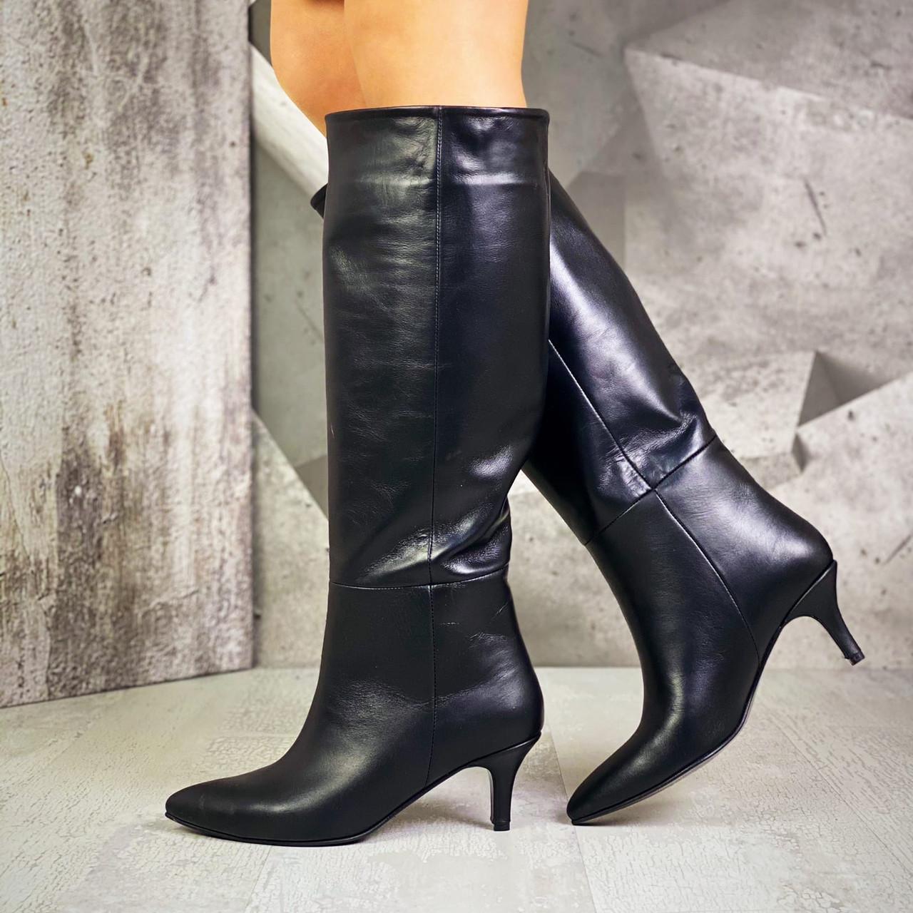 Женские кожаные демисезонные сапоги на мини шпильке 36-40 р чёрный