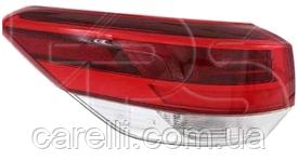 Фонарь задний левый внешний (WY21W+LED) для Toyota Highlander 2016-19