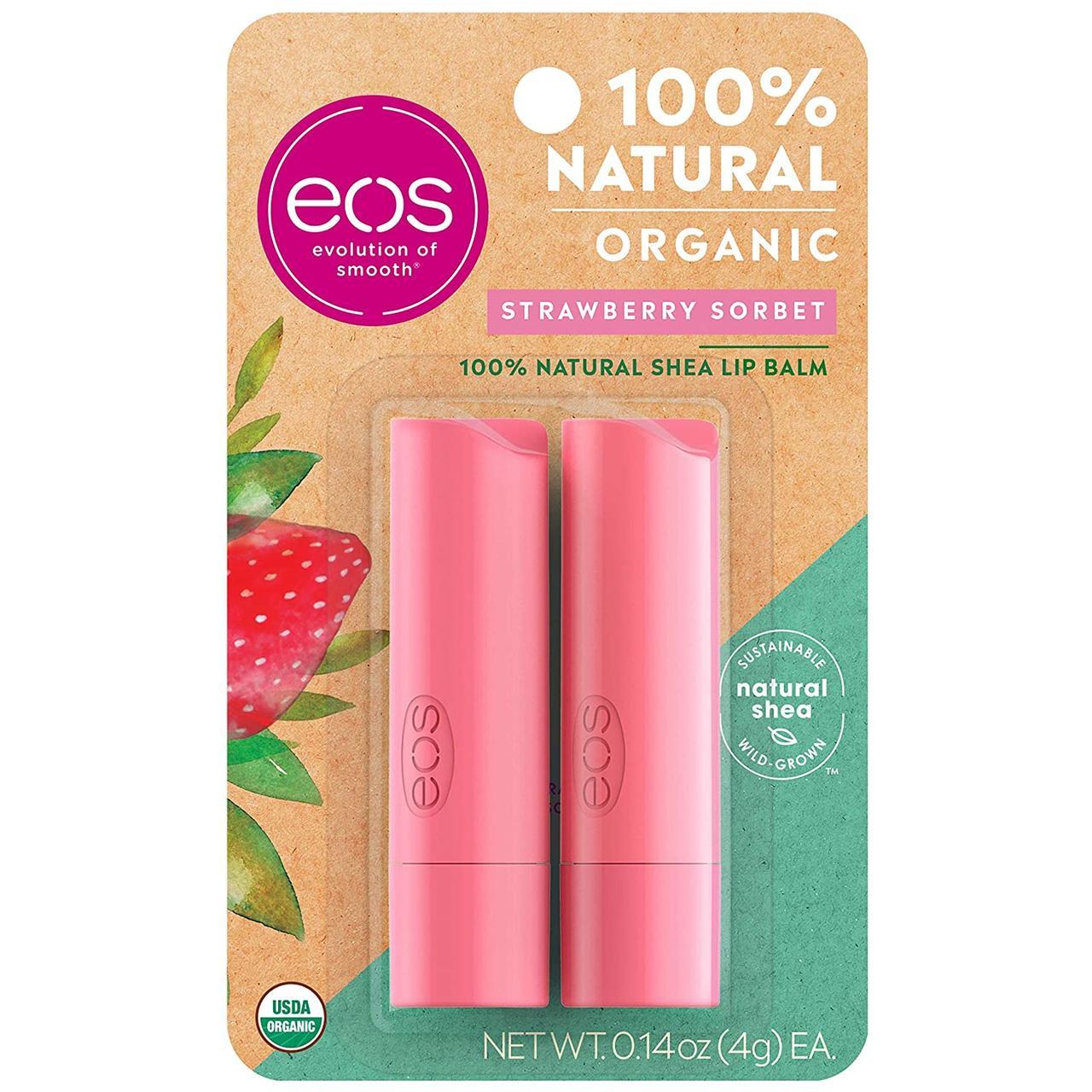 Бальзамы для губ EOS Клубника Organic Lip Balm Strawberry Sorbet 2 х 4 г