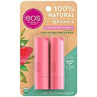 Бальзамы для губ EOS Клубника Organic Lip Balm Strawberry Sorbet 2 х 4 г, фото 1