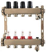 Коллектор для теплого пола на 12 контуров с расходомерами, краном Маевского и сливным клапаном Tervix