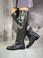 Женские кожаные лаковые демисезонные сапоги на каблуке 36-40 р хаки рептилия, фото 1