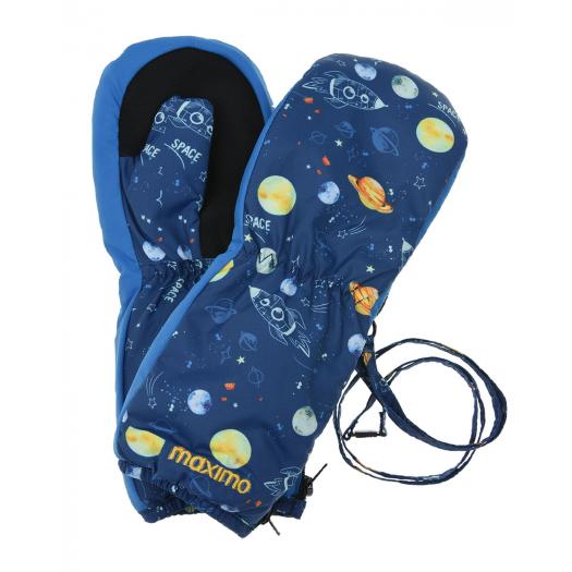 Детские варежки краги тепле на молнии Космос и планеты MaxiMo Германия Thinsulate 1,2,3,4,5,6 лет