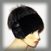 Меховая шапка из ондатры комбинированная с тонированной чернобуркой, фото 1
