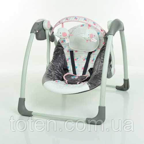Детские качели-шезлонг укачивающий центр Bambi 6504, серо-розовый Т