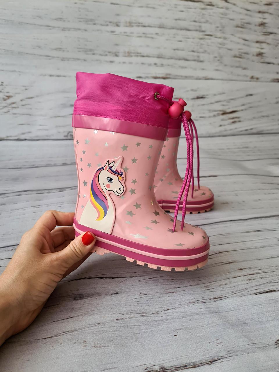 Дитячі гумові чоботи для дівчаток Kimboo 23р, 15см