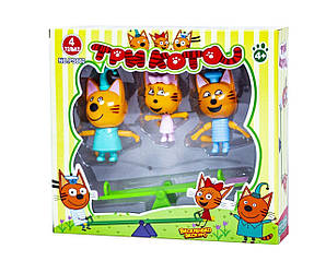 Фігурки Три кота 3 героя гойдалка в коробці PS660