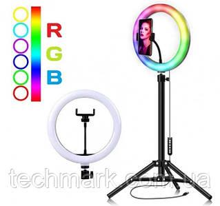 Набор для блогера 2в1: кольцевая лампа 30см RGB LED RING MJ30 + Телескопический штатив-стойка, 200см