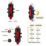 Задний велосипедный фонарь, Стоп, Мигалка, Вело Габарит (RED, 15LM, 5 led, 4 режима, USB, до 12ч работы), фото 4