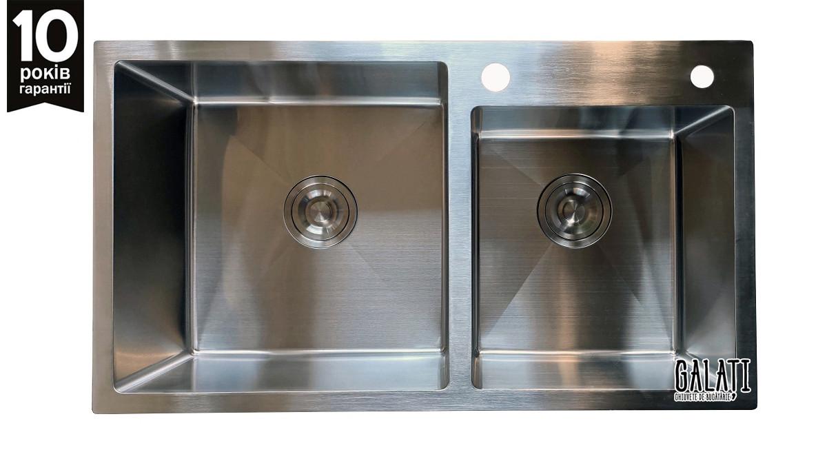 Кухонная мойка из нержавеющей стали Galaţi Arta U-750D 80*45 двойная
