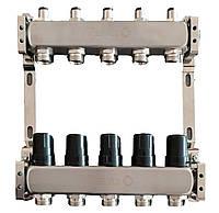 Коллектор для теплого пола на 5 контуров, без расходомеров, нержавеющая сталь Tervix Pro Line 501005