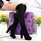 Демисезонные женские черные ботфорты, экозамша, фото 5