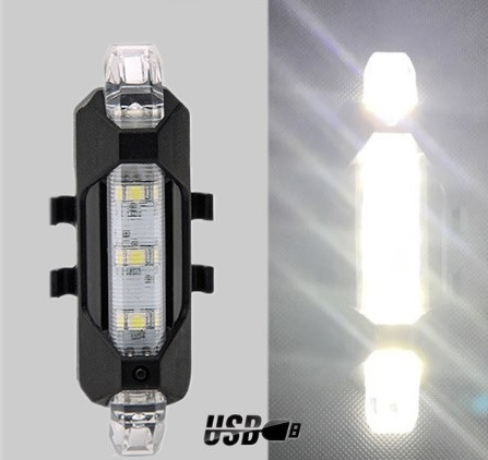 Задний велосипедный фонарь, Стоп, Мигалка, Вело Габарит (WHITE, 15LM, 5 led, 4 режима, USB, до 12ч работы)