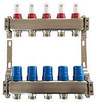 Коллектор для теплого пола на 5 контуров, с расходомерами, нержавеющая сталь Tervix Pro Line 501105