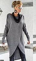 Туника-кардиган женская стильная трикотажная серая большого размера 54-56