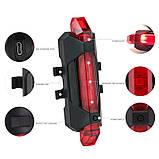 Задний велосипедный фонарь, Стоп, Мигалка, Вело Габарит (BLUE, 15LM, 5 led, 4 режима, USB, до 12ч работы), фото 2