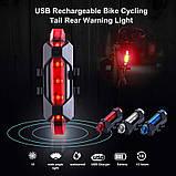 Задний велосипедный фонарь, Стоп, Мигалка, Вело Габарит (BLUE, 15LM, 5 led, 4 режима, USB, до 12ч работы), фото 7
