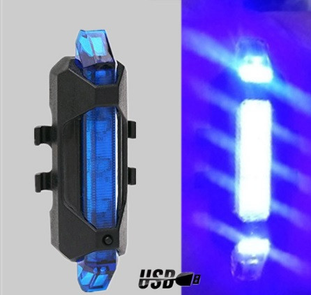 Задний велосипедный фонарь, Стоп, Мигалка, Вело Габарит (BLUE, 15LM, 5 led, 4 режима, USB, до 12ч работы)