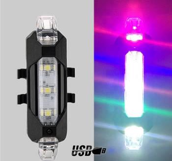 Задний велосипедный фонарь, Стоп, Мигалка, Вело Габарит (ColorFull, 15LM, 5 led, USB, до 12ч работы)