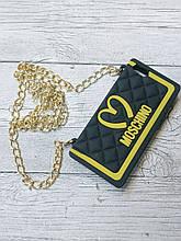 Противоударный силиконовый чехол Moschino Клатч iphone 5 5S SE Черный