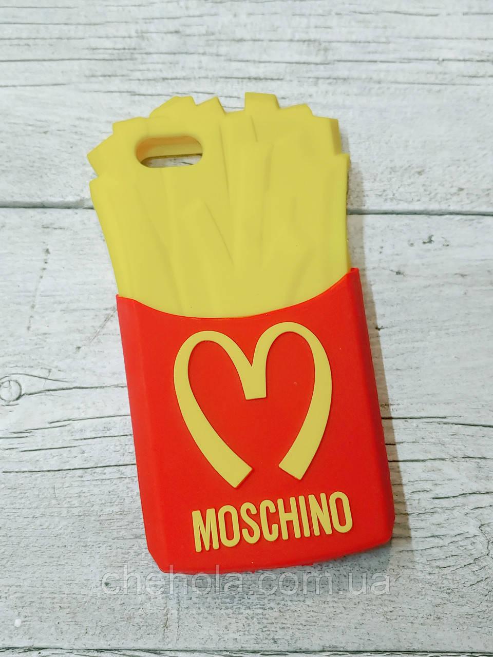 Противоударный силиконовый чехол Moschino French Fries iphone 5 5S SE
