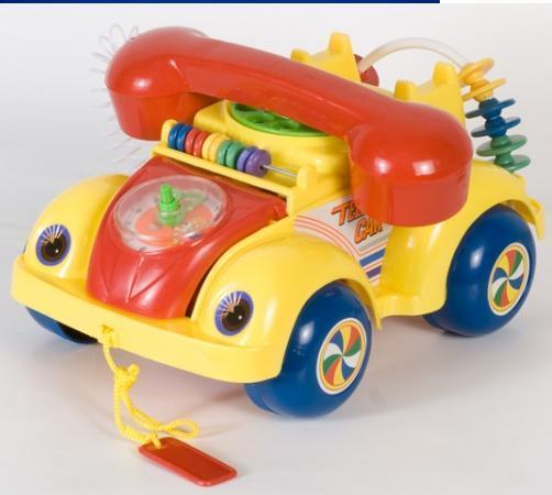 Каталочка дитяча  машина телефон на мотузочку в пакеті 705Р