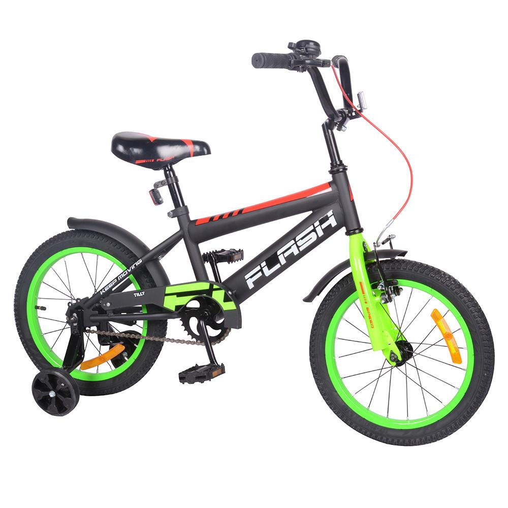 """Велосипед  FLASH 16"""" 2-х колісний green з дзвінком та ручним гальмом в коробці  T-21647"""