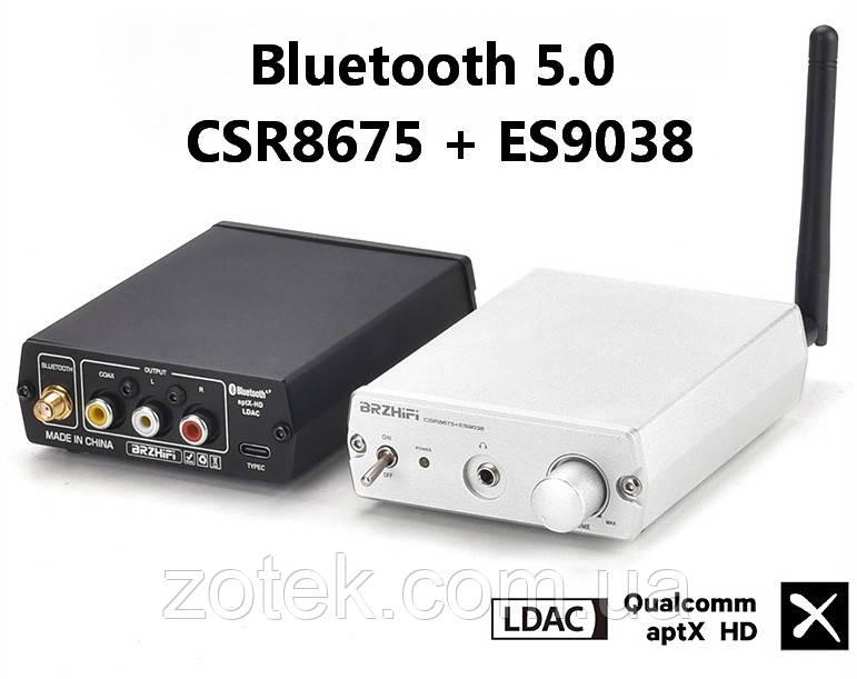 BRZHIFI BT20 Bluetooth 5.0 CSR8675 + ES9038Q2M аудіо приймач ресивер aptX-HD, LDAC