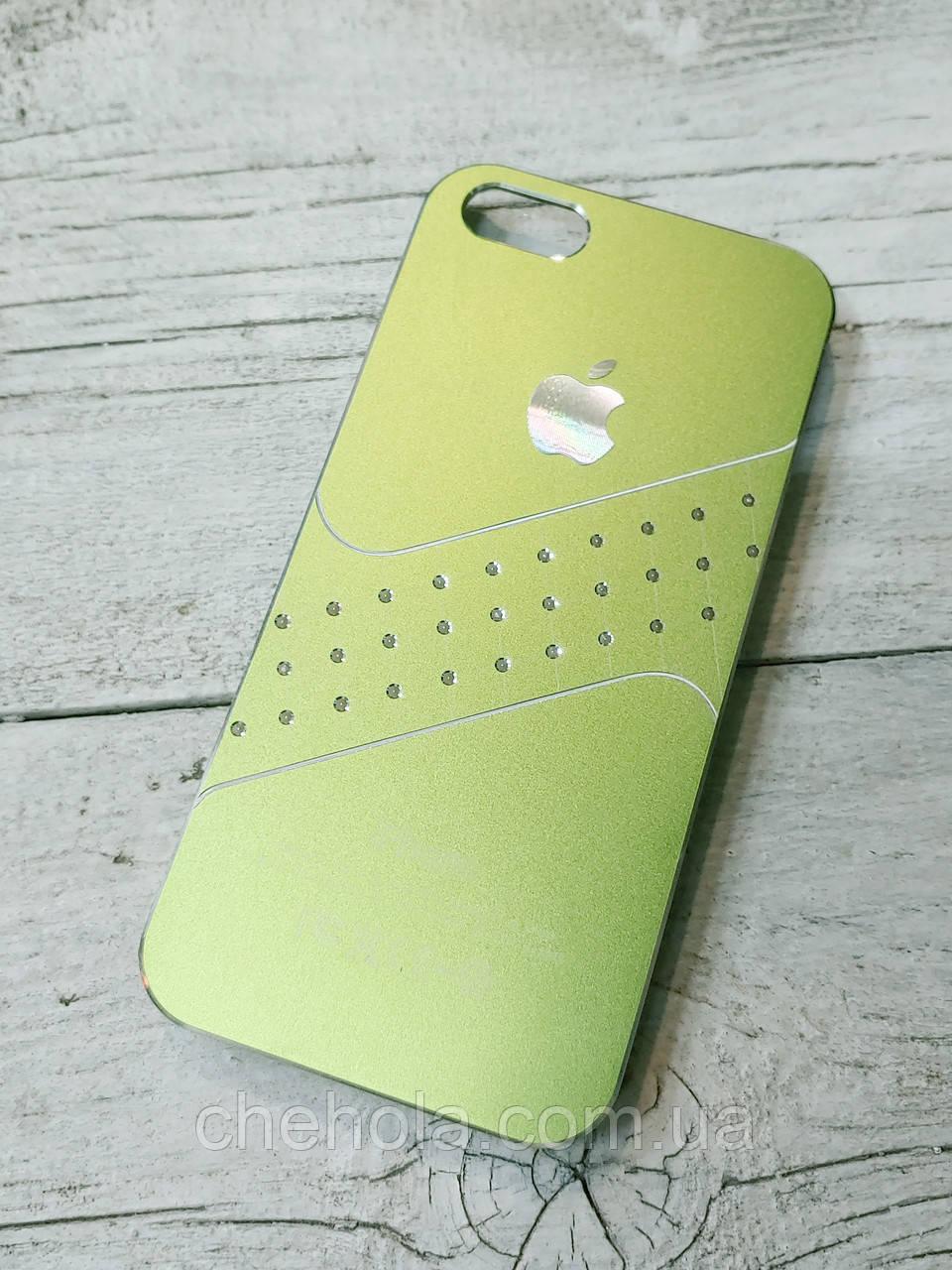 Женский Чехол для iPhone 5 5S SE Стразы Зеленый