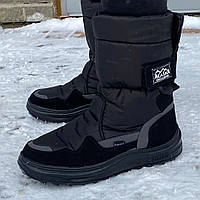Сапоги мужские дутики зимние Аляска черные высокие | Зимняя обувь мужская. Чоботи дутіки чоловічі зимові
