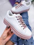 Кеды / кроссовки женские белые с розовые (пудрой) эко кожа весна/ осень, фото 2