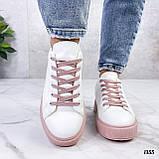Кеды / кроссовки женские белые с розовые (пудрой) эко кожа весна/ осень, фото 4