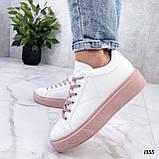 Кеды / кроссовки женские белые с розовые (пудрой) эко кожа весна/ осень, фото 5