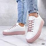Кеды / кроссовки женские белые с розовые (пудрой) эко кожа весна/ осень, фото 6