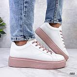 Кеды / кроссовки женские белые с розовые (пудрой) эко кожа весна/ осень, фото 7