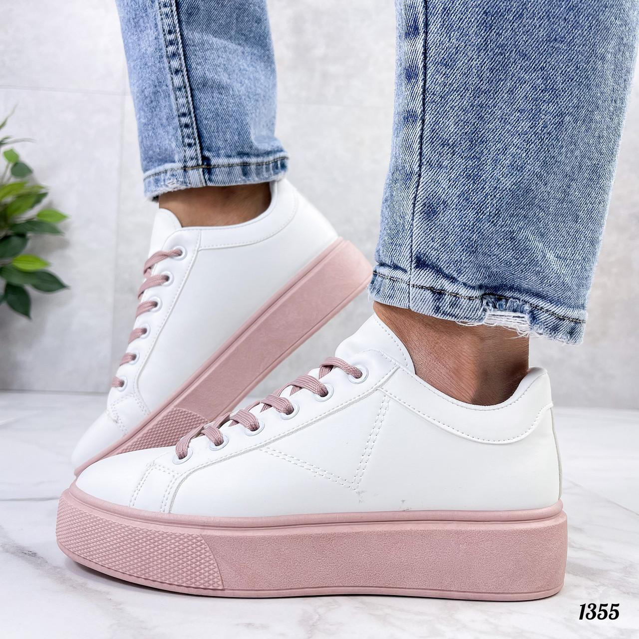 Кеды / кроссовки женские белые с розовые (пудрой) эко кожа весна/ осень