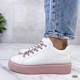 Кеды / кроссовки женские белые с розовые (пудрой) эко кожа весна/ осень, фото 9