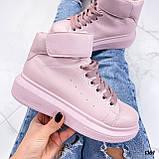 Кросівки - хайтопы жіночі рожеві ДЕМІ з липучкою еко шкіра, фото 3