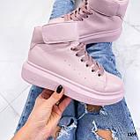 Кросівки - хайтопы жіночі рожеві ДЕМІ з липучкою еко шкіра, фото 4