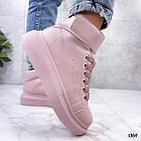 Кросівки - хайтопы жіночі рожеві ДЕМІ з липучкою еко шкіра, фото 5