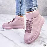 Кросівки - хайтопы жіночі рожеві ДЕМІ з липучкою еко шкіра, фото 6