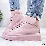 Кросівки - хайтопы жіночі рожеві ДЕМІ з липучкою еко шкіра, фото 7