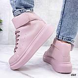 Кросівки - хайтопы жіночі рожеві ДЕМІ з липучкою еко шкіра, фото 8