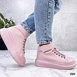 Кросівки - хайтопы жіночі рожеві ДЕМІ з липучкою еко шкіра, фото 2