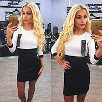 Платье короткое белый верх, черный низ