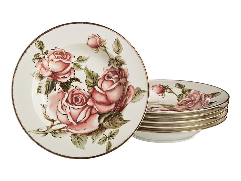 """Набір фарфорових супових тарілок з великим малюнком """"Корейська троянда"""" 6 предметів, діаметр 23 см"""