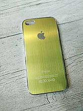 Металлический Противоударный Чехол для Iphone 5 5S SE Хромированный Brushed Chrome Зеленый