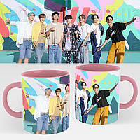 Чашка BTS. Кружка с принтом БТС №8. Музыка Рожевий, фото 1