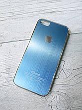 Металлический Противоударный Чехол для Iphone 5 5S SE Хромированный Brushed Chrome Голубой