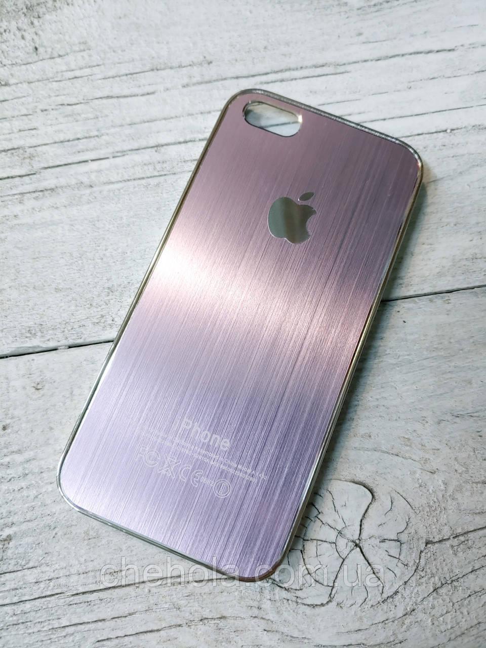 Металлический Противоударный Чехол для Iphone 5 5S SE Хромированный Brushed Chrome Фиолетовый